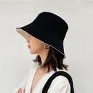 黑色雙面漁夫帽女韓版百搭日系潮牌遮陽帽防曬防紫外線太陽顯臉小一米陽光