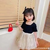 女童洋裝/連身裙洋氣2021新款夏季中女小童閃亮裙子蓬蓬紗裙兒童公主裙 快速出貨