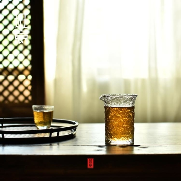 班意 日式錘紋玻璃茶海 耐熱玻璃手工公道杯 茶具