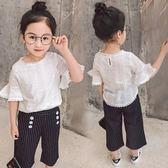 女童短袖t恤洋氣童裝喇叭袖上衣娃娃衫