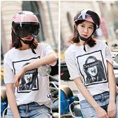 摩托車頭盔女哈雷半覆式夏季頭盔四季通用防曬紫外線電動車安全帽   color shop