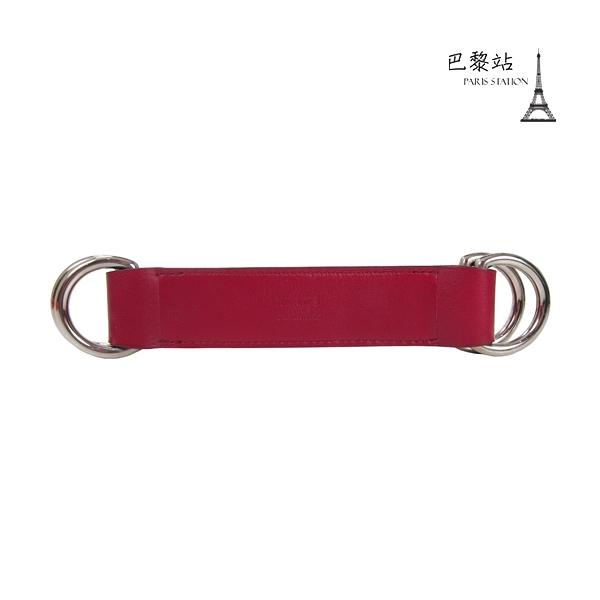 【巴黎站二手名牌專賣店】*現貨*HERMES 愛馬仕 真品*紅色Box皮革絲巾釦環 銀釦