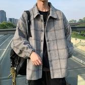 秋冬季港風外套男寬鬆潮流秋冬季毛呢夾克百搭休閒學生格子上衣服