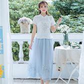 短袖裙裝 新款小清新民族風女裝復古繡花短袖T恤衫 大擺長裙兩件套
