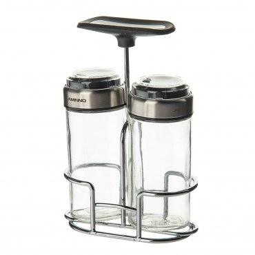 雅士玻璃調味罐2入附架