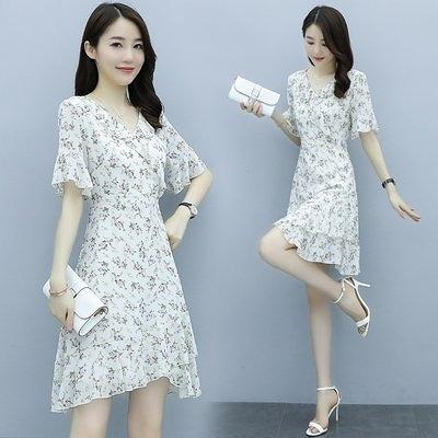 洋裝 裙子實拍M-3XL碎花連衣裙小個子 裝氣質顯瘦小清新雪紡裙子T105.8332皇朝天下