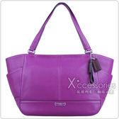 COACH 荔枝紋全皮側口袋肩背包(紫)