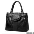 時尚包-HENDOZ.羊皮MIX皮革俐落二用包(黑色)1154