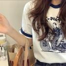 2021年新款夏季卡通印花短袖t恤女寬鬆顯瘦撞色圓領白色上衣ins潮 橙子精品