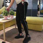 加絨休閒褲男2019秋冬季新款小腳褲運動褲黑色韓版潮流九分束腳褲