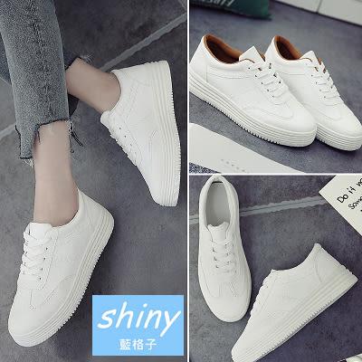 【V8116-11】shiny藍格子-瑕疵特賣.韓版白色帆布厚底板鞋平底休閒布鞋