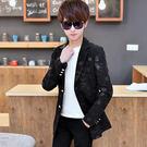 雙12購物節   小西裝男韓版中長款外套青少年學生印花修身帥氣上衣男士休閒西服   mandyc衣間