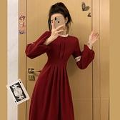 年會禮服 法式復古宮廷風紅色連衣裙赫本風打底裙新年年會禮服小紅裙【快速出貨八折下殺】