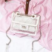 透明包包女果凍包子母包鍊條小方包夏天女包斜背小包        伊芙莎