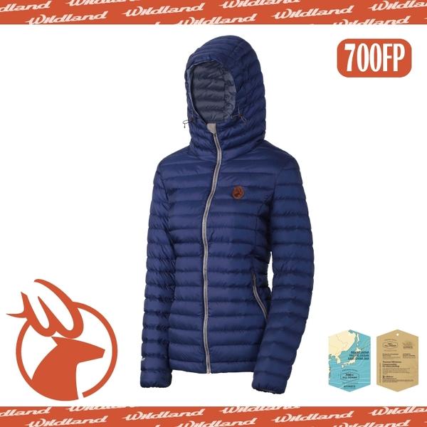 【Wildland 荒野 女款 700FP連帽輕時尚 羽絨衣《藍紫》】0A-3211180/羽絨外套/連帽羽絨衣