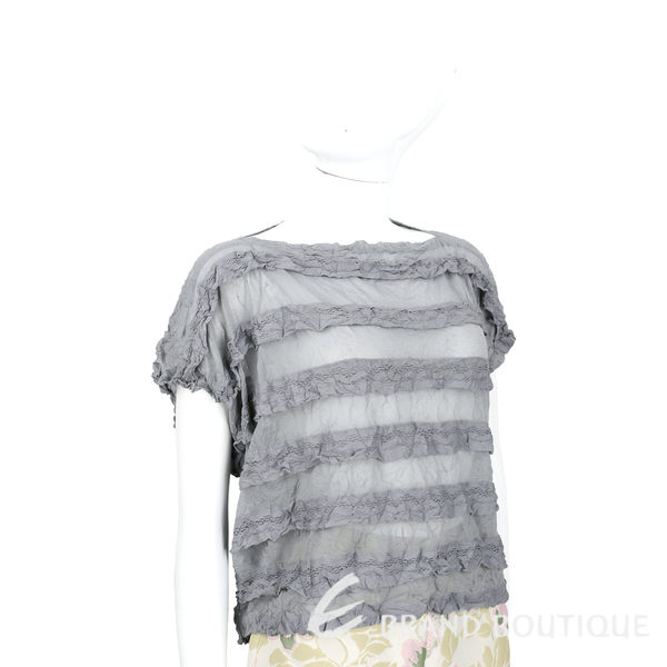 三宅一生 ISSEY MIYAKE CAULIFLOWER 灰色拼接皺褶短袖上衣 1620541-06
