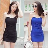 裙子夏夜場女裝新款緊身包臀抹胸洋裝裹胸超短裙洋裝工緊身洋裝 快速出貨
