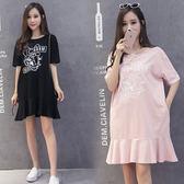 2018夏季孕婦裝短袖T恤韓版中長款薄款休閒上衣孕婦衫裙連衣裙夏  八折免運 最後一天