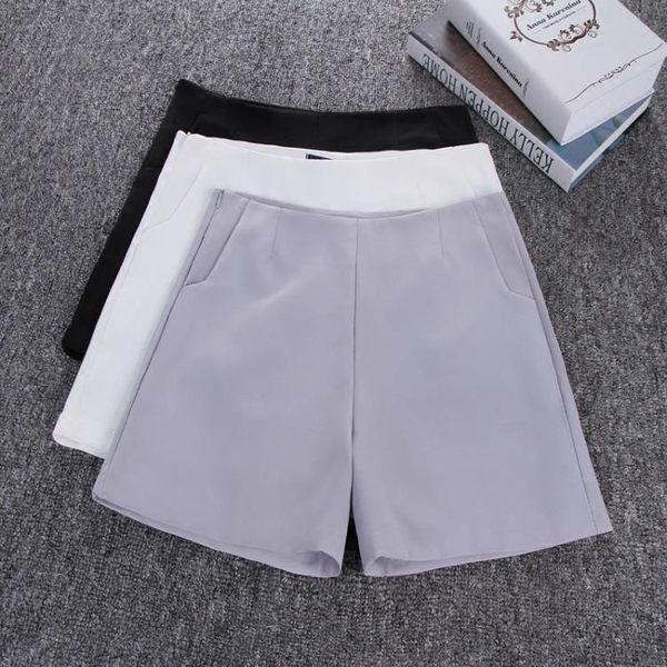 雪紡西裝短褲女夏季正韓闊腿外穿修身顯瘦熱褲休閒褲S-XL 黑灰米白三色入 基本款
