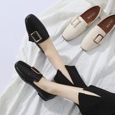 2019韓版春季新款復古奶奶鞋淺口百搭平底單鞋女鞋方頭平跟豆豆鞋