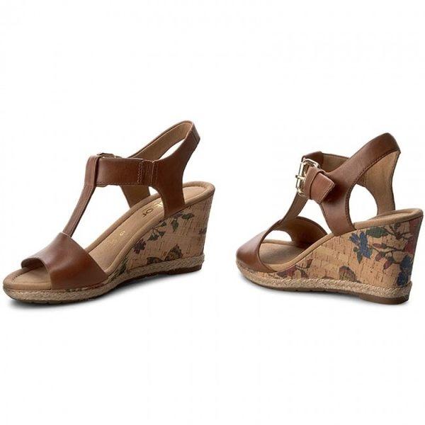 【Gabor 促銷6折】GABOR T字型高雅楔型涼鞋 花朵咖