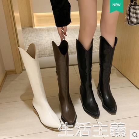膝上靴 長筒靴女復古秋季尖頭高跟中筒粗跟西部牛仔靴秋款網紅高筒靴 生活主義