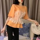 熱賣假兩件上衣 蕾絲假兩件短袖t恤女韓版寬鬆ins潮原宿風設計感小眾很仙的上衣服 coco