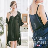 柔緞壓花細肩帶連身裙+外罩衫 二件式緞面睡衣組 典雅高貴美人 - 香草甜心