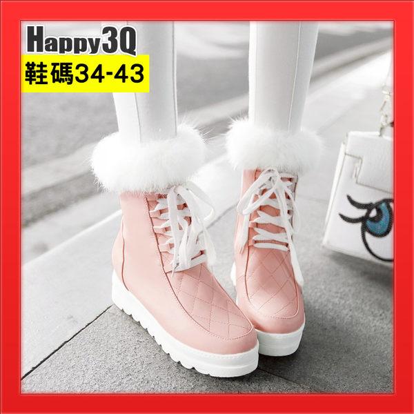 甜美繫帶短靴仿真兔毛短靴內增高日式女鞋菱格紋圓頭皮面綁帶-黑/白/粉34-43【AAA3535】預購