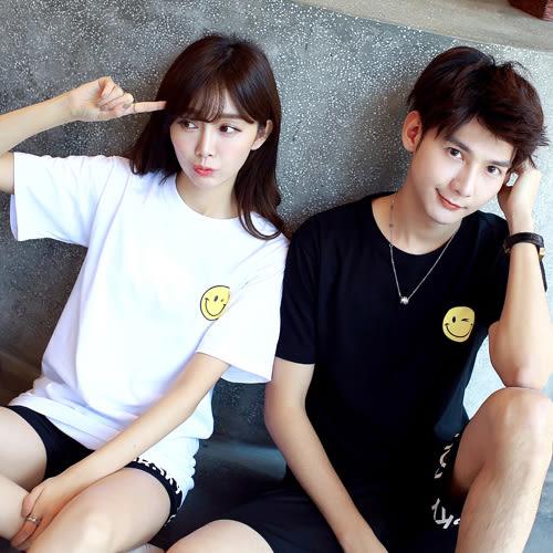 24小時快速出貨  潮T情侶裝  純棉短T MIT台灣製 左胸眨眼笑臉【Y0141】可單買 男女可穿 班服