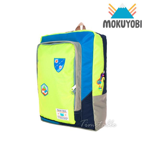 MOKUYOBI / Flyer Packs / L.A 空運繽紛拼貼旅行必備多功能筆電電鏽章後背包 - 螢光黃