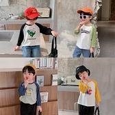 棉小班兒童t恤男童個性時髦寶寶上衣童裝插肩袖拼接印花小童長袖 滿天星