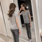 短袖T恤女橫條紋百搭修身顯瘦半袖女上衣