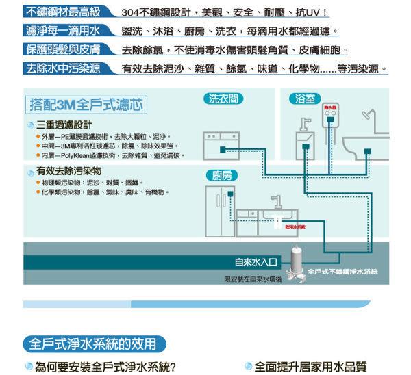 【3M 全戶式淨水系統】3M SS801全戶式不鏽鋼淨水/除氯系統~~贈送AP817本體替換濾心一支
