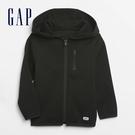 Gap男幼童 簡約風格純沙拉鍊連帽外套 603020-黑色