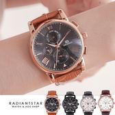 正韓DONBOSCO時間的指紋真三眼大錶面真皮手錶對錶單支【WDB790】璀璨之星☆