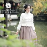月芝貓【暮生煙】原創中式復古中國風旗袍羽絨服短外套上衣1469A