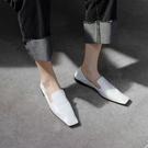 手工真皮大尺碼女鞋34~43 2020歐美明星款仙女風百搭牛皮方頭低跟包鞋~2色