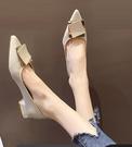 粗跟鞋 粗跟單鞋女2021春款年新款尖頭仙女鞋溫柔平底軟皮低跟法式豆豆鞋 伊蘿