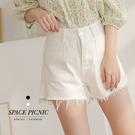 短褲 Space Picnic 素面銀釦大口袋抽鬚短褲(現+預)【C21042009】