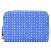 【南紡購物中心】agnes b. LOGO印花ㄇ型拉鍊零錢包(藍)
