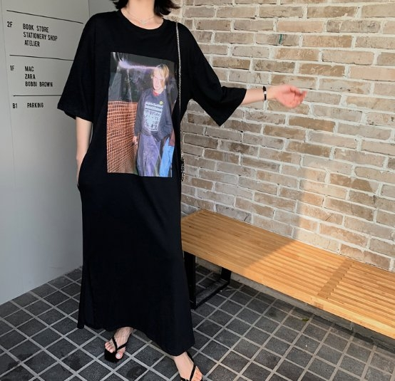 韓長版衣長裙T裙連身裙洋裝L-2XL東大門中大尺碼女裝連衣裙居家服NC417.2033皇潮天下