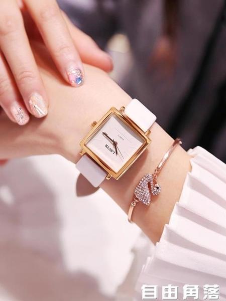 手錶女士學生韓版簡約時尚潮流防水休閑大氣石英女錶抖音網紅同款 自由角落