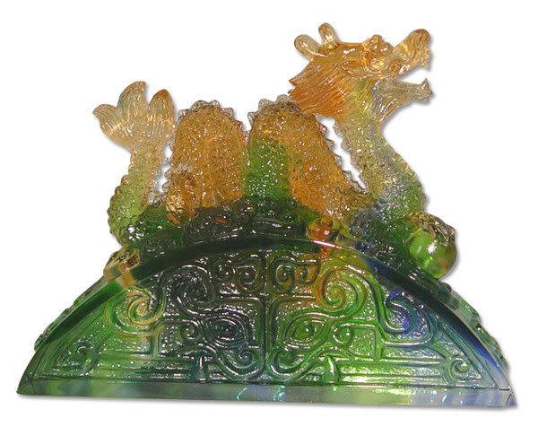 鹿港窯~居家開運水晶琉璃【幸運2000龍】 獎牌 擺飾 ◆附精美包裝◆免運費送到家
