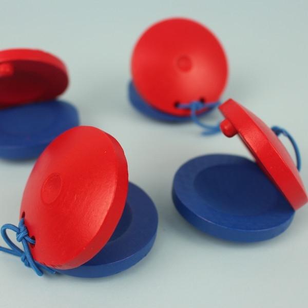 響板 木質響板 節拍響板(藍紅雙色)單個散裝/一個入{促30}~空白無笑臉圖案~5888