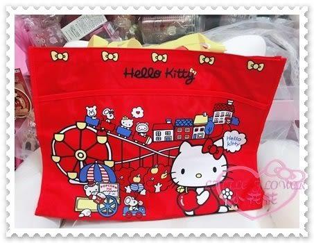 ♥小花花日本精品♥Hello Kitty 畫板收納袋手提肩背袋購物袋防潑水蘋果遊樂園小熊紅色41093108