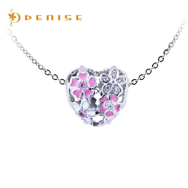 925純銀「心花朵朵開」珠墜 /銀飾情人禮物 /送白鋼項鍊