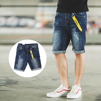短褲 深藍刷色潑漆小抓破牛仔短褲 附飄條【NB0225J】