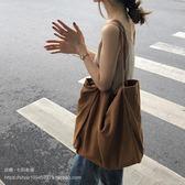 側背包 七只布袋大容量韓國東大門同款經典百搭超大素色空白帆布包 新品