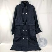 BRAND楓月 KENZO 深藍色 外縫線 雙排釦 長版風衣 #34 大衣 率性 個性 外套